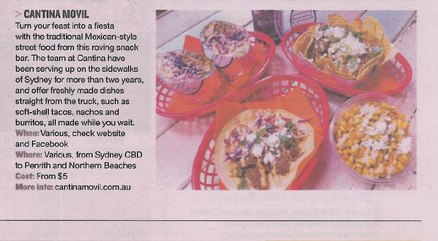 Sunday Telegraph 22.06.14 Body and Soul Food Trucks Directory - Cantina